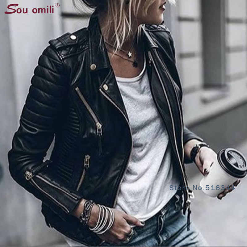 Blue Lozenge Leather Jacket for Women Rivet Punk Moto Coat Faux Jacket jaquetas couro Casaco Jacket chaqueta cuerina mujer