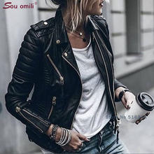 Blue Lozenge Leather Jacket for Women Rivet Punk Moto Coat Faux Jacket jaquetas couro Casaco Jacket chaqueta cuerina mujer(China)