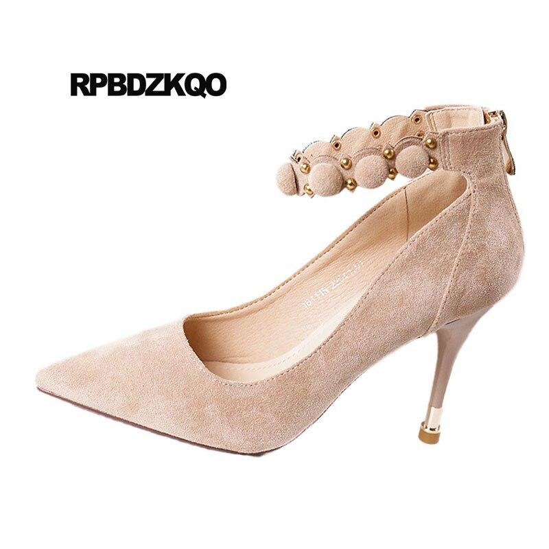 Tobillo Tacón Zapatos Bombas Del De Nude Correa Alta Coreano Moda 34 2018 negro Dedo Gamuza Pie Pulgadas Tamaño Apricot Puntiagudo 3 Elegante Remache 4 an44zqXZ