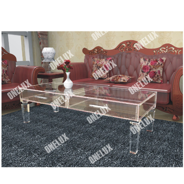 Vanity Acrylic Coffee Drawer Table Clear Lucite Perspex Tail Tea Tables Tapered Legs One Lux