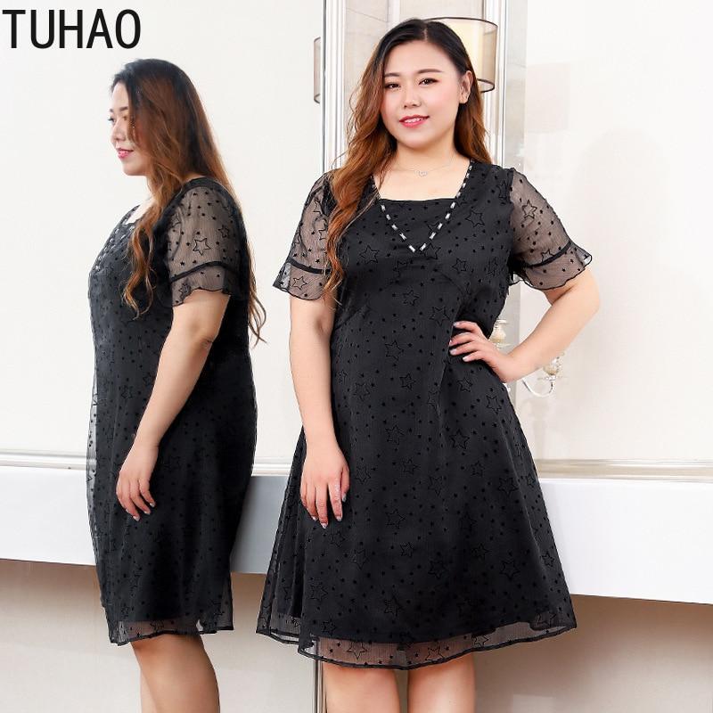 TUHAO été mode piste robe noire grandes tailles 10XL 9XL genou longueur étoile élégant fête robes de grande taille robes de femmes MS05