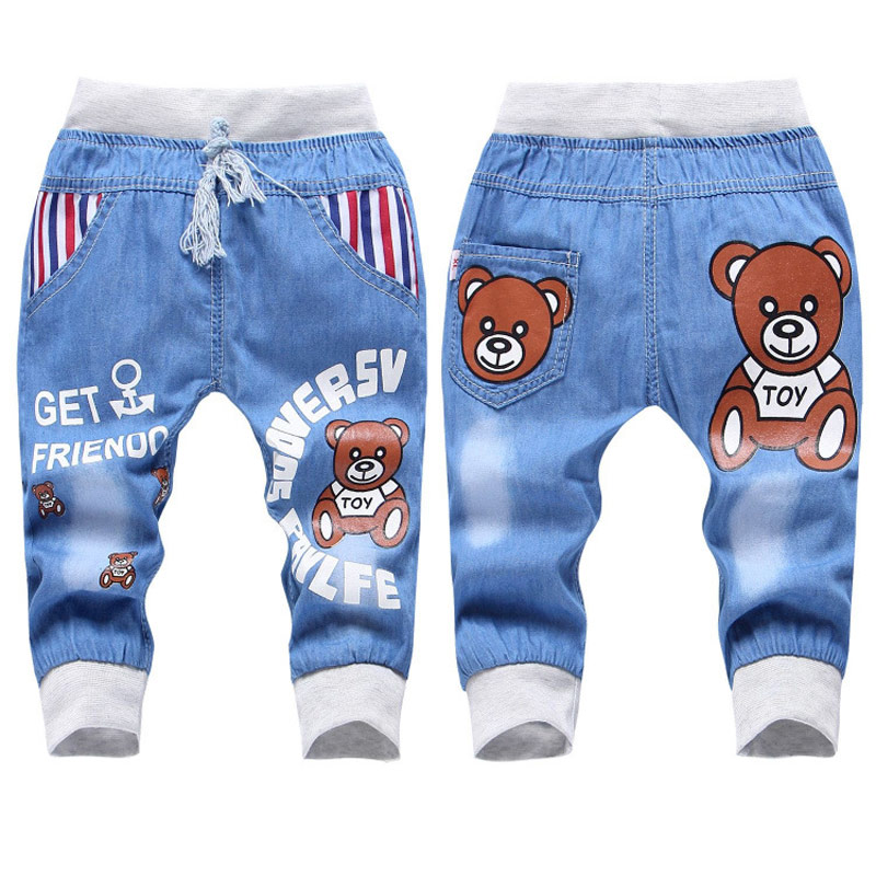 Jiuhehall 2016 New Fashion Kids Jeans Elastic Waist Straight Cartoon Jeans Denim Seventh Pants Retail Jeans For Kids 2-5 Y WB141