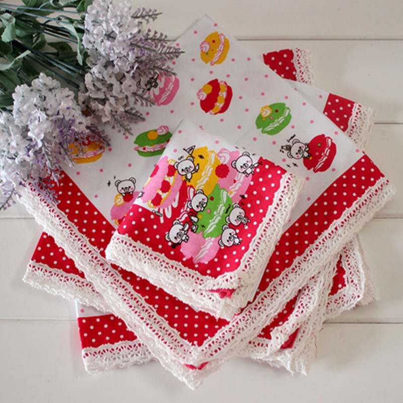 Child's Handkerchief Cotton Handcuffs Pocket Towel Lace Girl Handkerchief 3Pcs/Lot