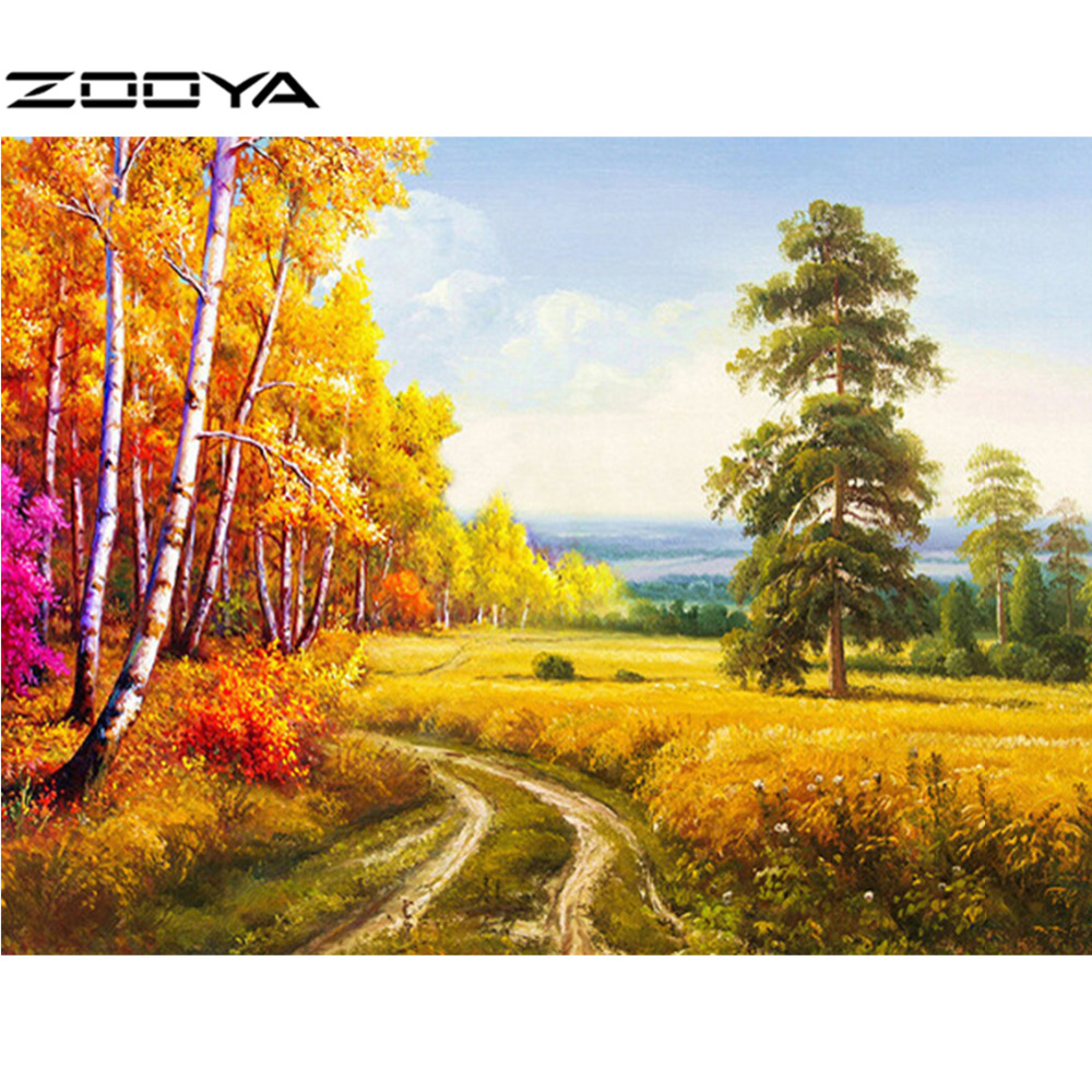 ZOOYA Diamond Embroidery Landscape 5D DIY Diamond Painting Full Dill Round Diamond Mosaic The Road Between Fields Gifts RF911