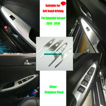 4Pcs/Set Stainless Steel Car Interior Decoration Door Window Switch Cover Trims For Hyundai Tucson 3th 2015 2016 LHD Accessories цена 2017