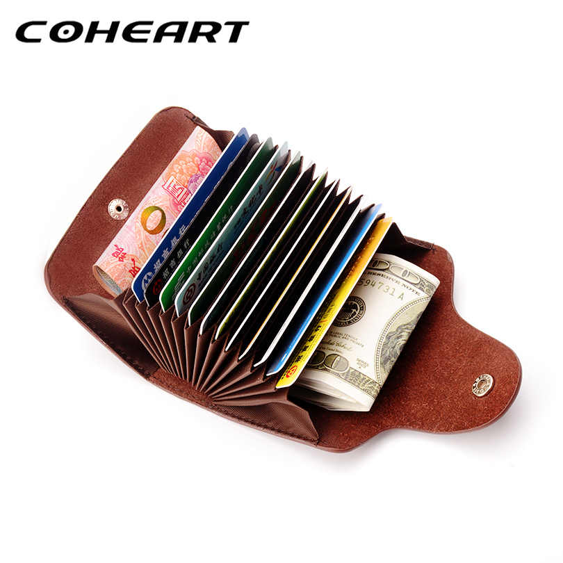 COHEART Genuine Leather Card Wallet for Men and Women Cowhide Business Card Holder Credit Card Purse Top Quality !