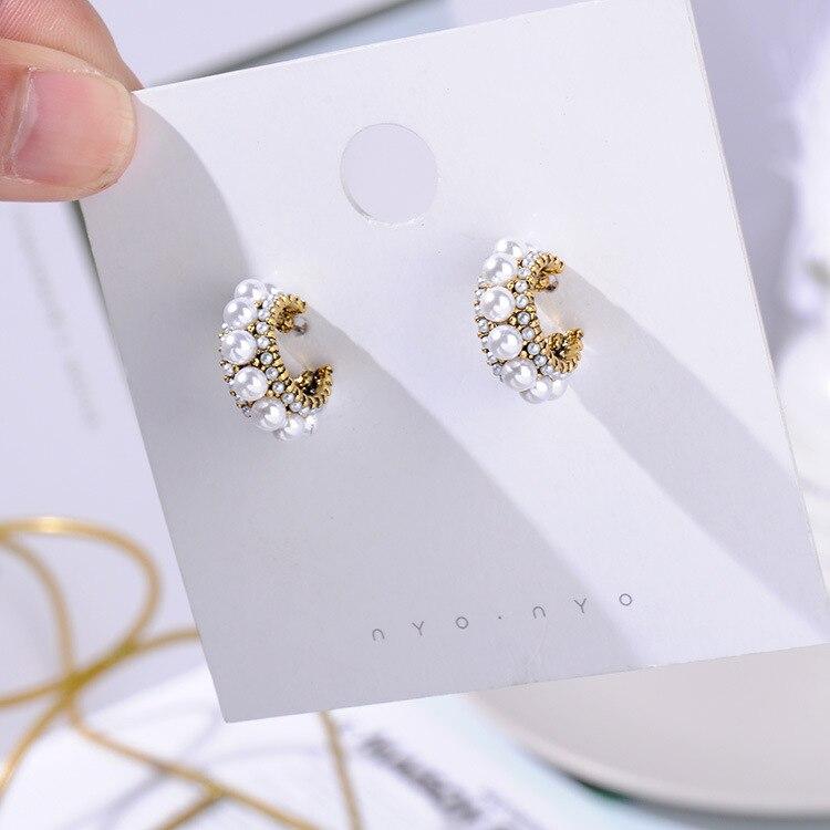 MENGJIQIAO, новинка,, винтажные цветные стразы, маленькие серьги-кольца для женщин, модные, имитация жемчуга, полукруг, Pendientes - Окраска металла: 3 line big pearl