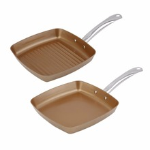 2pcs Copper Coating Bottom Frying Pans Non-Stick Square Grill Pan Multifunction Cookware Set Kitchen Cooking Tools(China)