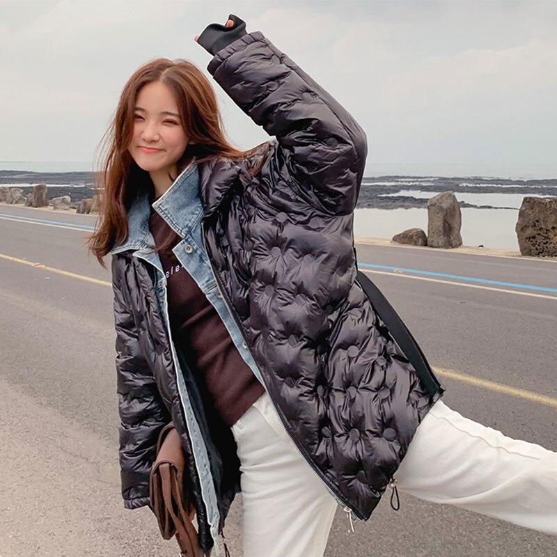 Denim Mince 27 Manteau Veste Étudiant 2019 New Deux Bright Rembourré Ceinture D'hiver Couture Black Femmes pièce Épais Femelle Faux 35RjqL4A