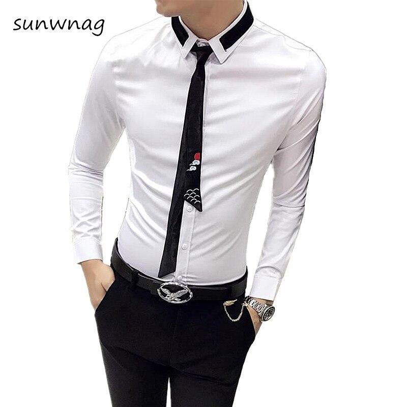 fef34d228 2018 New Fashion Brand (Tie+Shirt) Designer Camisa Masculina Long Sleeve  Shirt Men Korean Slim Formal Casual Male Dress Shirt