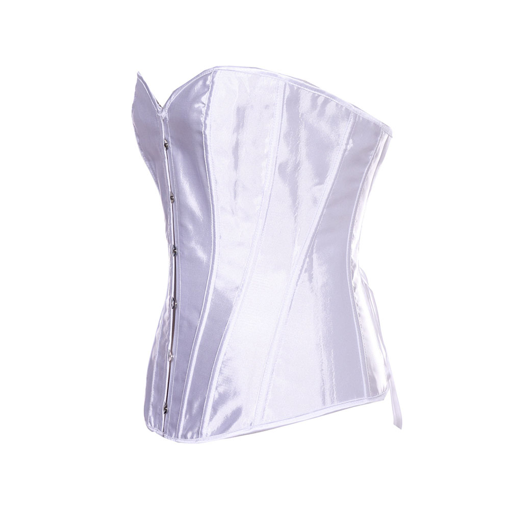 Satin Overbust   Corsets   Lingerie Top Lacing Up   Bustier   Traditional Boned   Corset   Wedding Bride Cincher Underwear Party Outfits