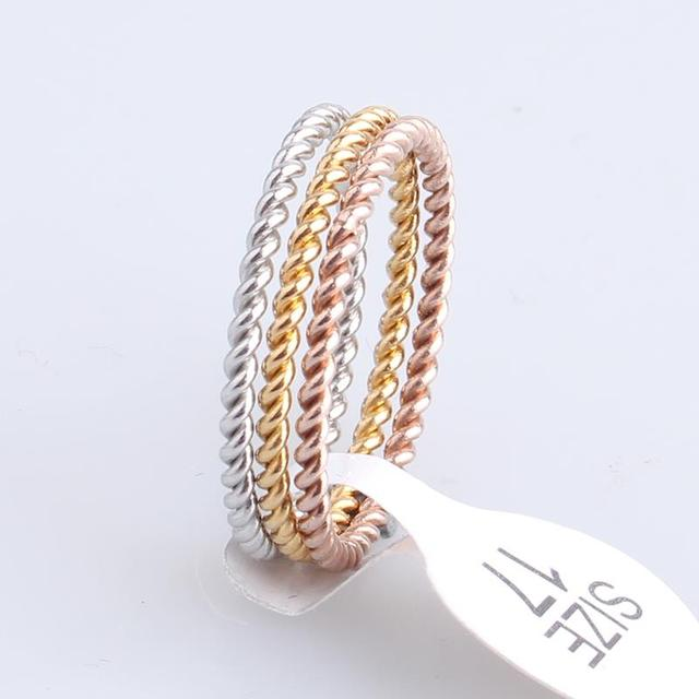 Fashion SlimThree circle Hemp flowers 316L Stainless Steel finger rings for wome