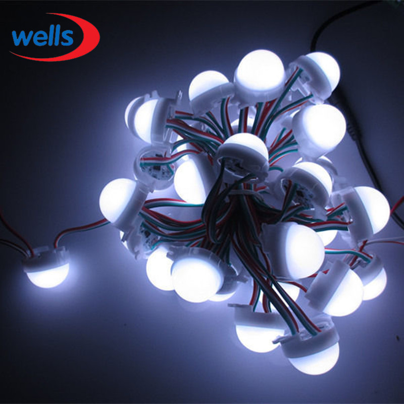 20 /Lot WS2811 30mm Diffused LED Pixel Module Full Color 3 LEDs 5050 RGB 12V DC Full-color LED module lit WS2811