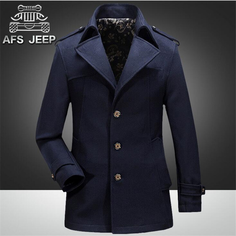 39743a05811 New Mens Coat Spring Fashion Slim Type Double Breasted Wool Coat Men  Military Style Pea Coat Men s Windbreaker Trench Homme