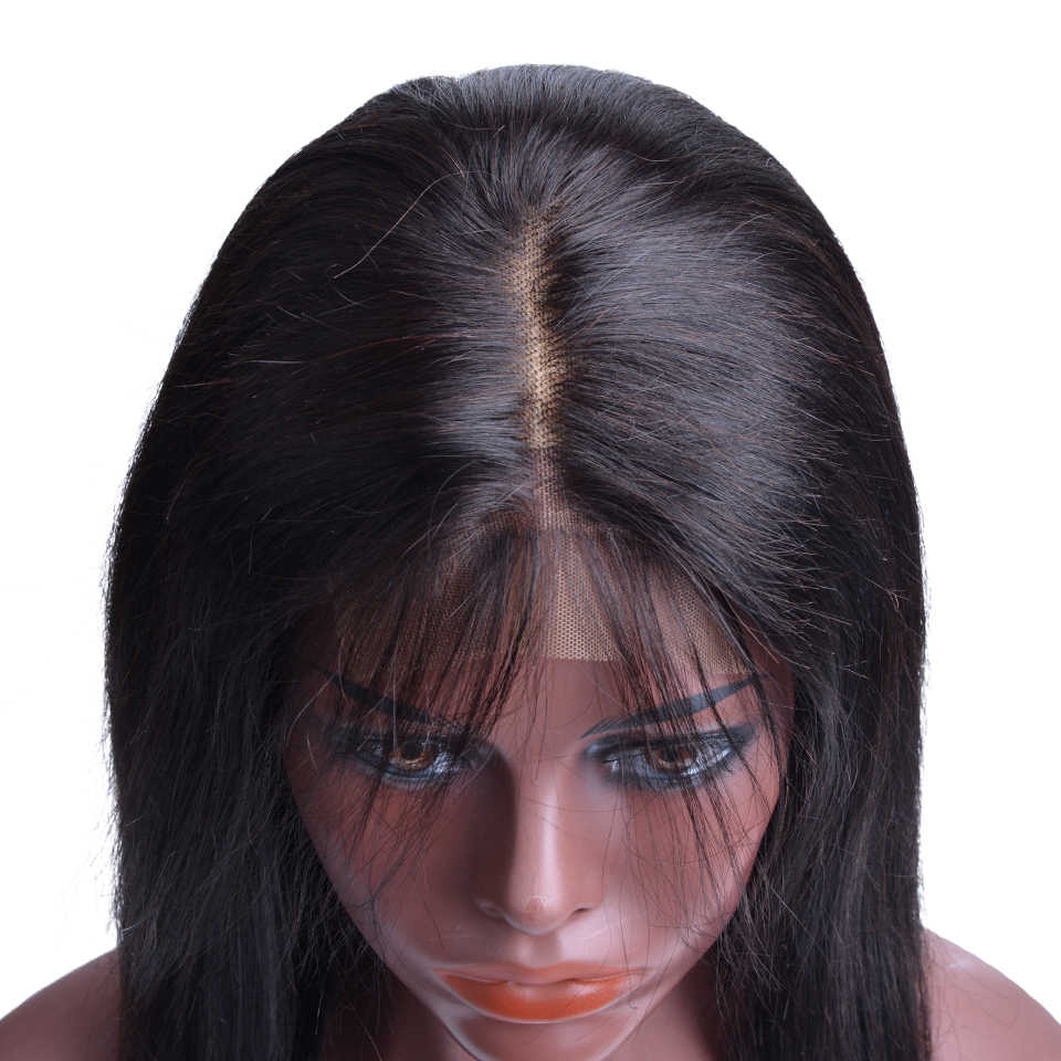 Синтетические волосы на кружеве человеческих волос Парики Природный Цвет бразильский Прямо Синтетические волосы на кружеве закрытия парики человеческих волос, парики для черный Для женщин