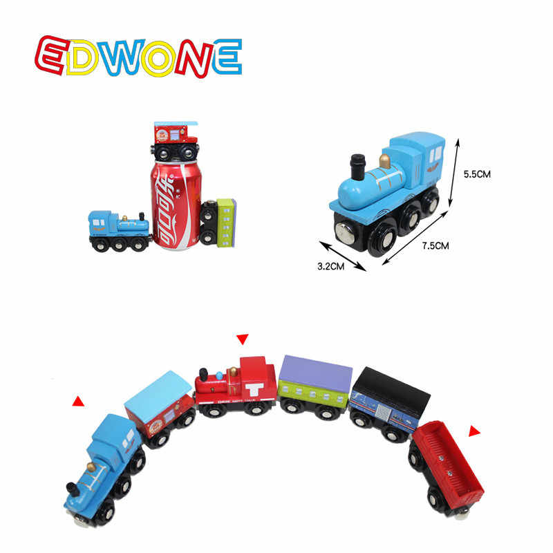 Edwone Wood Magnetic Trains Car Locomotive Toy Educational Model DIY Mini Tender Fit Biro Thomas Tracks 22 Designs