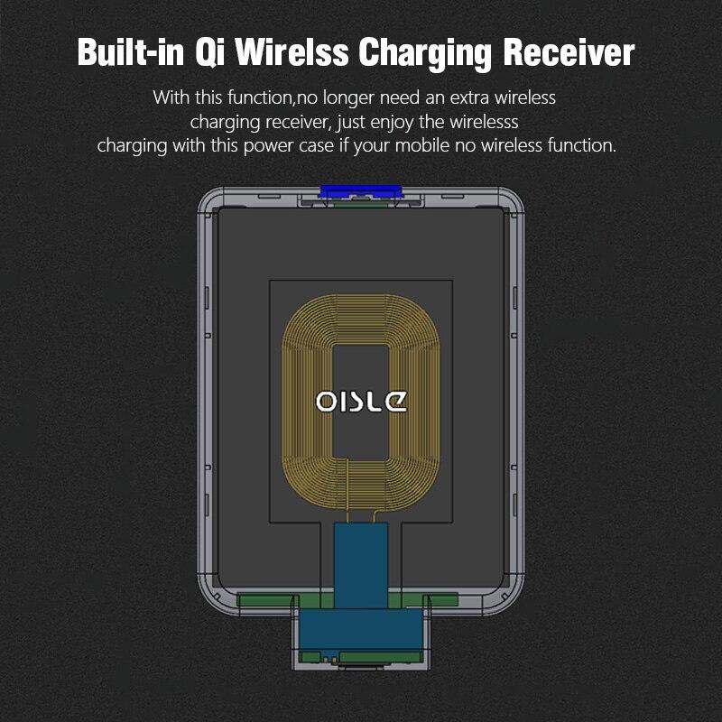 Batterie externe sans fil mince chargeur de batterie de secours externe pour iPhone 8/Samsung S6/One plus 5/HTC boîtier d'alimentation récepteur Qi intégré - 4