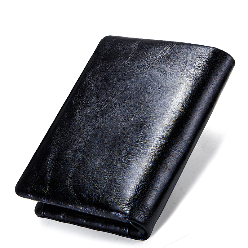 CONTACT'S Genuine Cowhide Leather Men Wallet Trifold Wallets Fashion Design Brand Purse ID Card Holder With Zipper Coin Pocket 1