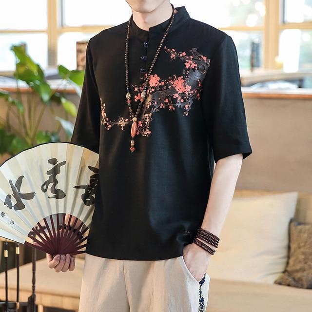 8ab4d36761 Chinese Style Linen Men Shirt Flower Printing Short Sleeve Summer Shirt Man Stand  Collar Black Slim Fit White Mens Casual Shirts
