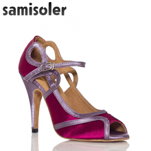 Samisoler Red/White New Cloth Collocation Shine Ribbons Ballroom Fashion Dance Women Latin Competition Shoes