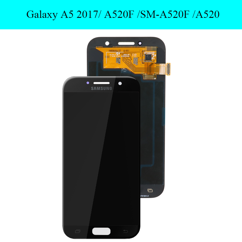 Image 2 - Original 5.2 Super AMOLED LCD for SAMSUNG Galaxy A5 2017 Display  Touch Screen Digitizer A520 A520F SM A520F Replacement PartsMobile  Phone LCD Screens