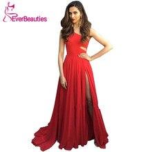 One Shoulder Evening Dress Long Wine Red Evening Gown Side Slit Formal Dress Abendkleider 2020 Robe De Soiree