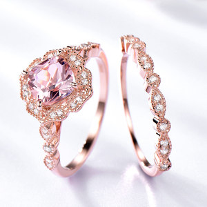 Image 2 - UMCHO 925 Sterling Silver Ring Set Female Morganite Engagement Wedding Band Bridal Vintage Stacking Rings For Women Fine Jewelry