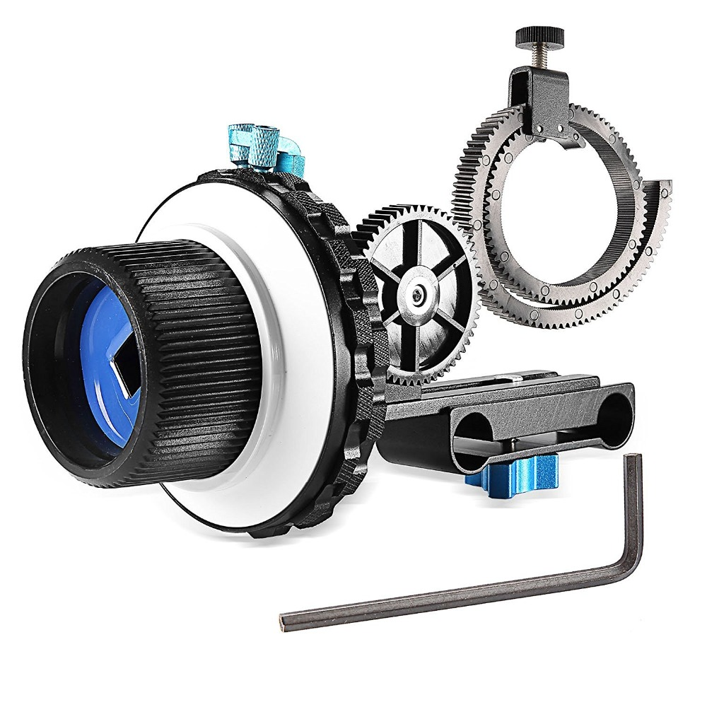 Neewer A-B Stop Follow Focus C2 with Gear Ring Belt for Nikon/Canon/Sony DV/Camcorder/Film/Video Cameras Fits 15mm Rod Mounts neewer follow focus with gear ring belt for canon and other dslr camera camcorder dv video fits 15mm rod film making system