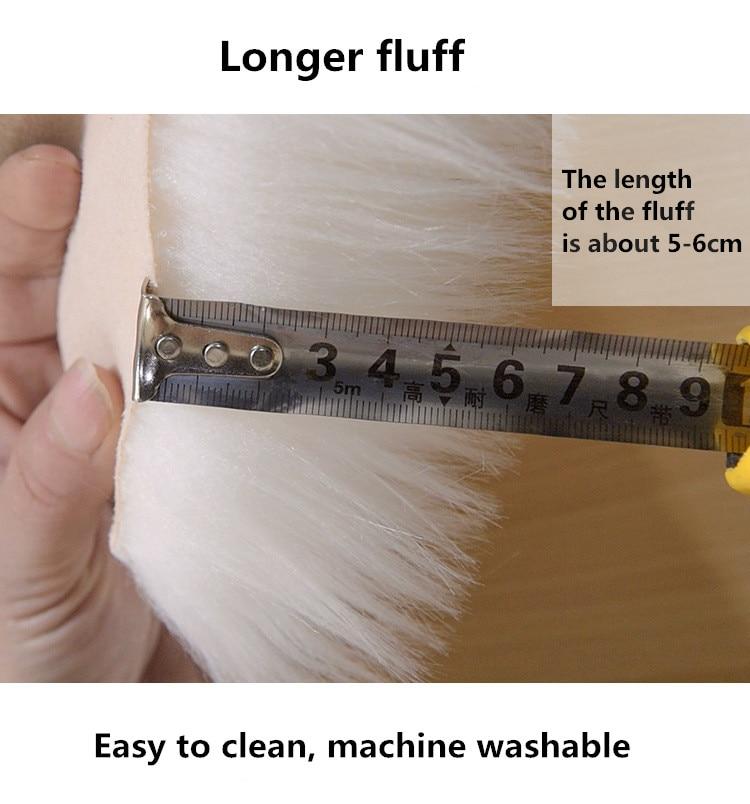 Peau de mouton artificielle tapis en fourrure douce forme de fleur couverture de chaise de chambre à coucher Long tapis moelleux laine chaude tapis poilu coussin de siège - 3