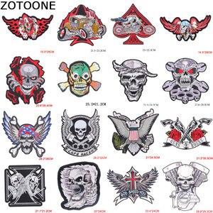 ZOTOONE-patchs de crâne larges | Patchs Cool pour ailes de moto, Badge de motard Punk, broderie de crâne en fer sur les vêtements à rayures B
