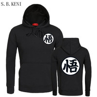 2017 Leisure Men Hoodies Dragon Ball Z Cartoon Son Goku Leisure Black Grey White Jerseys Hoodies