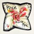 Señoras Carta Rosa Bufanda de Seda de Color Beige Accesorios de Moda Women Satin Plazoleta Bufandas Impreso Para la Primavera Otoño Invierno