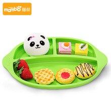 1 Pcs Alimentaire silicona FDA Brunch Dîner Plaque De Fiber De Bambou bébé bol Grille de Bande Dessinée Vaisselle Séparateur Plat Plateau pour Enfants