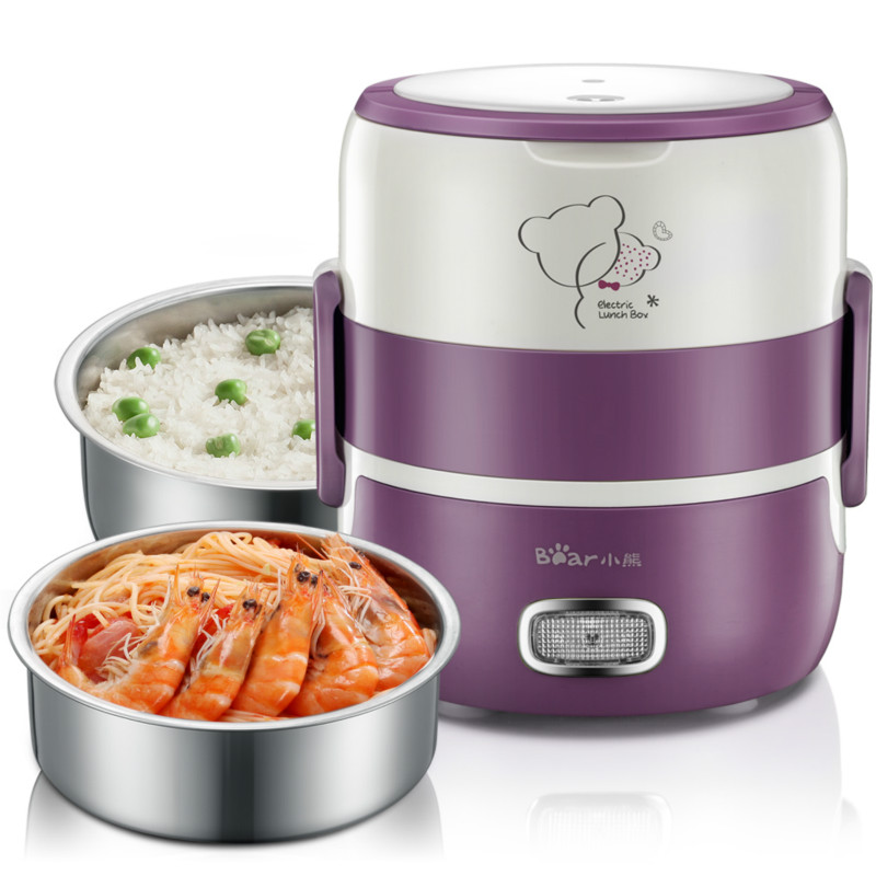 Bear Vacuum Double Layer Electric Heating Lunch Box Stainless Steel Rice Cooker bear electric lunch box portable vacuum three layer automatic insulation heating cooking stainless steel rice cooker