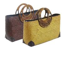Europe And The United States Wind Hand Woven Bag Retro Fashion Straw Bag Round Handle Handle