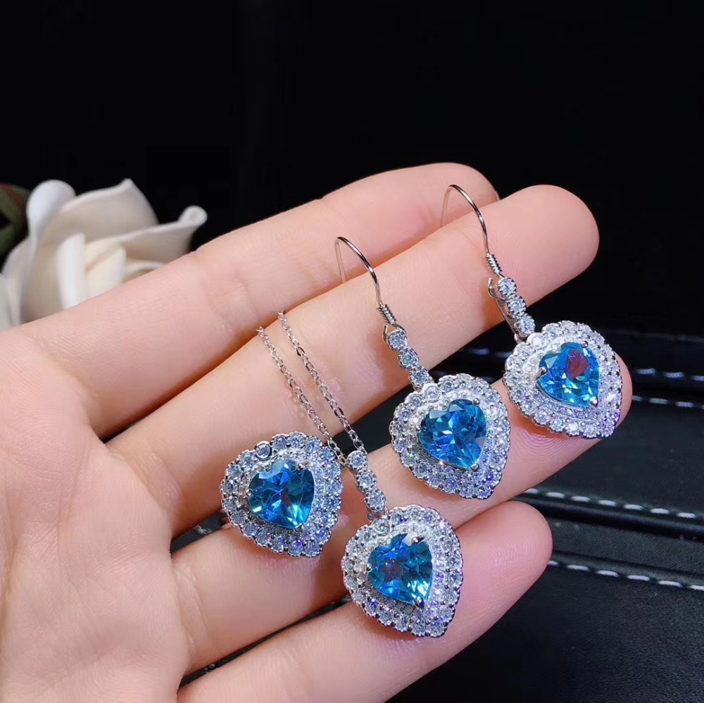 Natural blue topaz stone jewelry sets natural gemstone ring earrings necklace S925 silver romantic heart Peach Women  jewelry