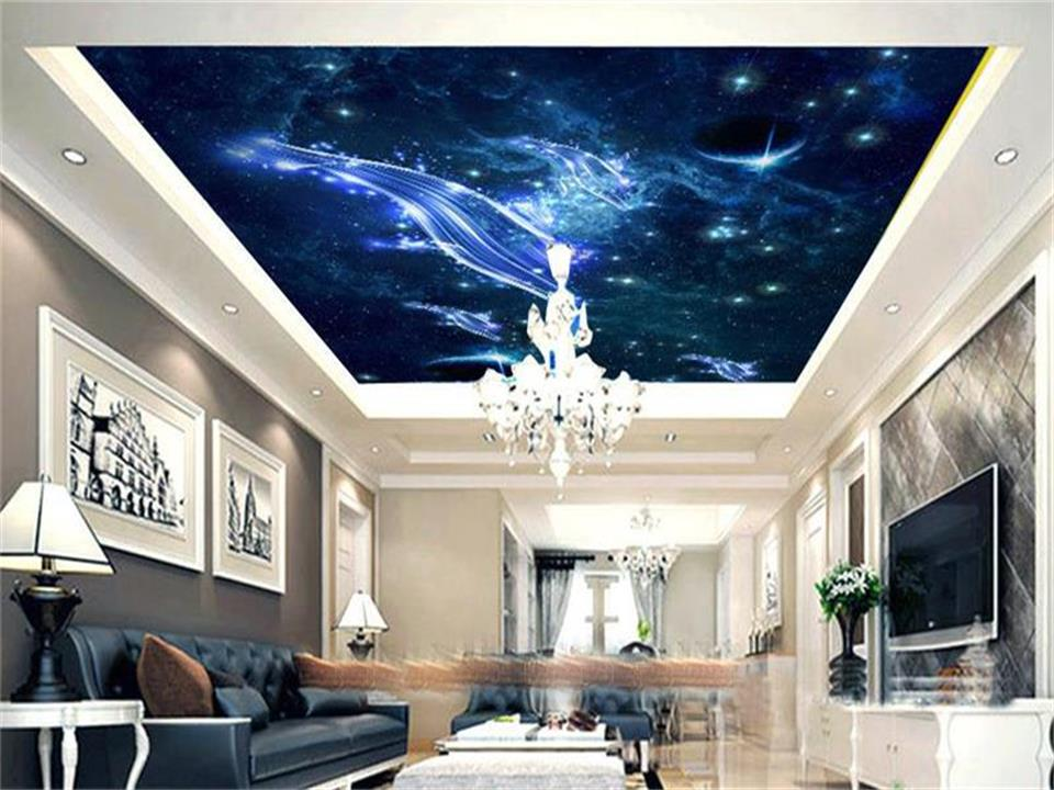 custom size 3d photo wallpaper living room ceiling mural stars blue whales space 3d painting non-woven wallpaper for wall 3d 3d ceiling murals wallpaper custom photo non woven angels blue sky white clouds painting 3d wall mural wallpaper for living room