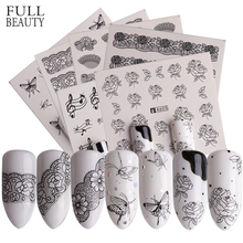 Full Beauty 40pcs Nail Art Sticker Lace Black Flowers Butterfly Design Water Transfer Nail Art Decals Decor Foil Set CHA577 624