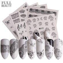 Pełne piękno 40 sztuk do paznokci naklejka artystyczna koronki czarne kwiaty motyl projekt woda transferu Nail Art naklejki dekoracyjne folia zestaw CHA577 624