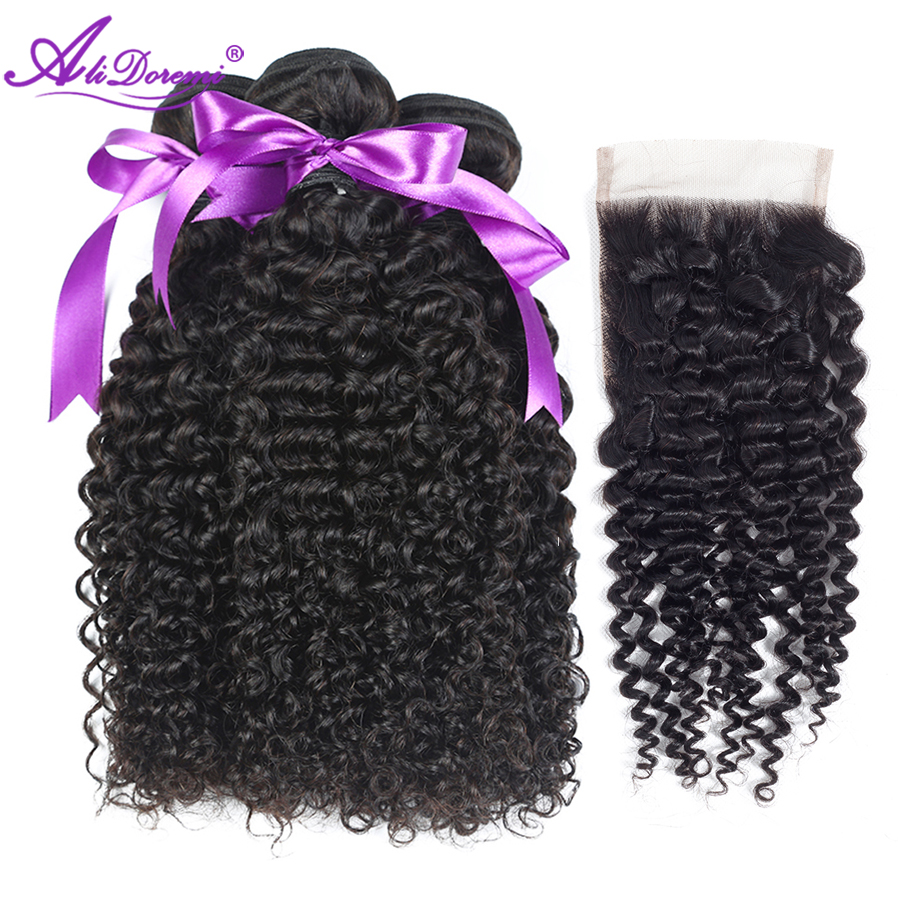 Alidoremi Mongolian Kinky Curly Hair With Closure Lace Free Part Human Hair Weave 3 Bundles With Closure Non Remy Hair Bundles