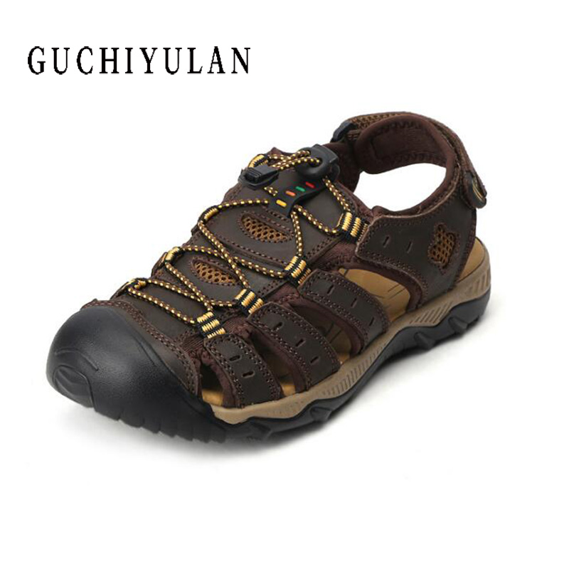 chaussure homme Cow Leather Beach Sandals Men Outdoor Climbing Shoes Summer Breathable Slippers Black Brown Plus Size 45 46 47