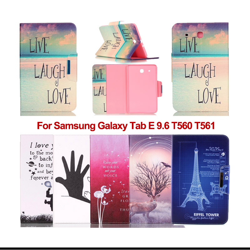 Fashion Painted Flip PU Leather Case Cover For Samsung Galaxy Tab E 9.6 T560 T561 Case For Galaxy Tab E 9.6 tablet cases