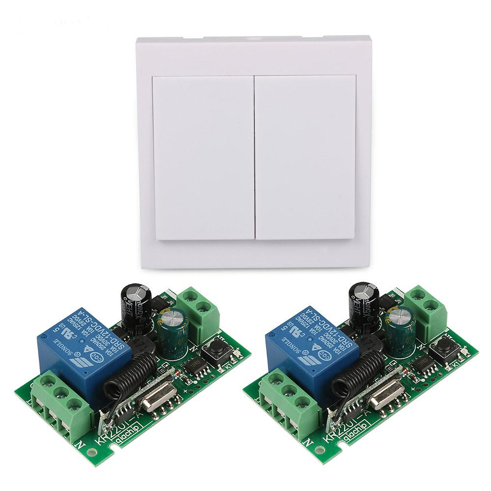 2 Channel Wall Panel Transmitter RF TX Remote Control Light Switch 433 MHz AC 220V 1 CH Remote Control Relay Receiver Module S3 smart home 433mhz 1 channel wireless remote control switch relay receiver 433 mhz rf 3ch 86 wall panel remote transmitter