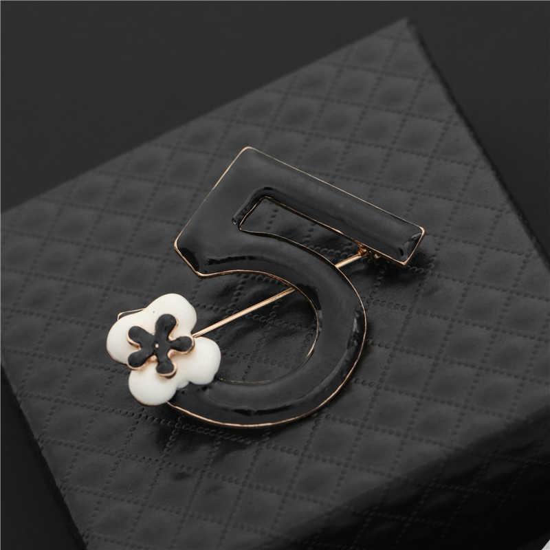 Merek Bros Huruf 5 Penuh Kristal Berlian Imitasi Bros Pin untuk Wanita Pesta Jumlah Bunga Bros Perhiasan 7 Gaya