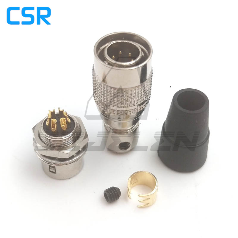Hirose Connector 6pin Plug Male And Sock Female Couple , HR10A-7P-6P/HR10A-7R-6S  , Industrial Camera Power Plug Socket