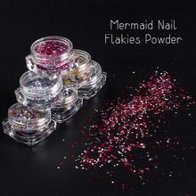 Saviland Nail Glitter Mermaid Hexagon Sequins Holographic Powders Rhinestones Dust Chrome Pigment Manicure Nail Art DIY Tool