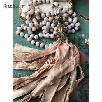 Romantic Shabby Boho Sari Silk Tassel Necklace Jewelry Unique Accessory Trendy Gift Fun Jewelry NM15564