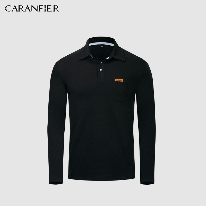 CARANFIER 2019 New Men   Polo   Shirts Male Long Sleeves Shirt Lapel-Neck Off White Supreme Men Solid 3 Color Casual Shirt