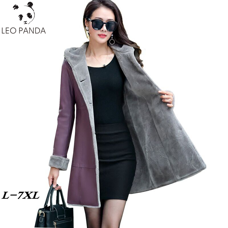 b2c2aa5a € 71.93 49% de DESCUENTO|Boutique invierno de las mujeres chaqueta de cuero  de piel juntos abrigos 2019 nuevo con capucha Plus tamaño ParkaThicker ...