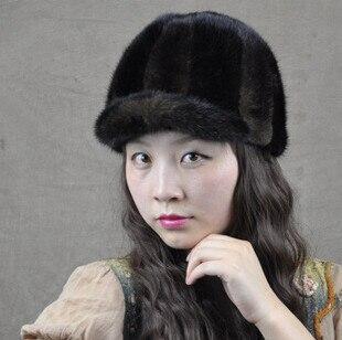 Hiver femmes vison fourrure chapeau 2016 nouveau luxe entier pièce réel vison fourrure chapeaux en plein air chaud sport fourrure chapeau marque femmes visière chapeau